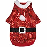 Zack & Zoey Santa Claus Sequin Hoodie for Dogs, 12″ Small, Red