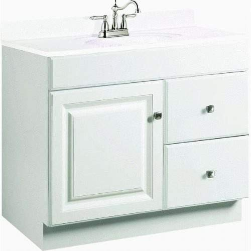 Design House 545061 Wyndham White Semi-Gloss Vanity Cabinet with 1-Door and 2-Drawers, 30-Inches Wide by 31.5-Inches Tall by 18-Inches Deep