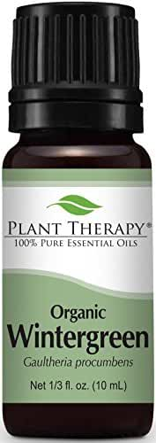 Plant Therapy USDA Certified Organic Wintergreen Essential Oil. 100% Pure, Undiluted, Therapeutic Grade. 10 ml (1/3 oz).