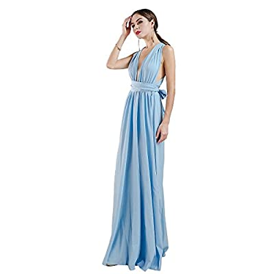 Missord Women Sexy V Neck Sleeveless Long Halter Party Dress