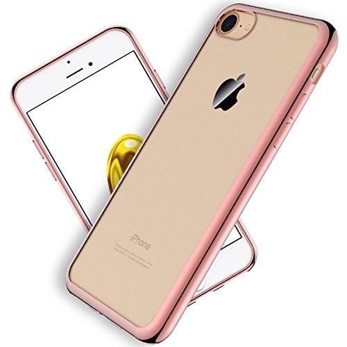 Coque iPhone 7 , HB-Int 3 en 1 Coque iPhone 7 (4.7 pouces) Transparent Crystal Housse Clair Soft Gel Silicone TPU Coque avec Placage Cover Téléphone Portable Étui Ultra Mince Slim Souple Bumper Protec