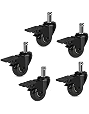 """Hirate Office Chair Casters with Brake, 2"""" Heavy Duty Swivel Lockable Caster Wheels Rolling Safe for Hardwood, Tile & Carpet Fit Most Chairs 7/16"""" x 7/8"""", Set of 5"""