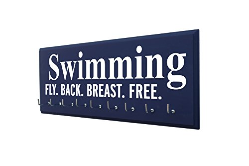 RunningontheWall Swimming Ribbon Display, Swimming Gift for Teenagers Swimming Fly. Back. Breast. Free. Swimmer Medal Display, Swimming Award Ribbon Display Rack