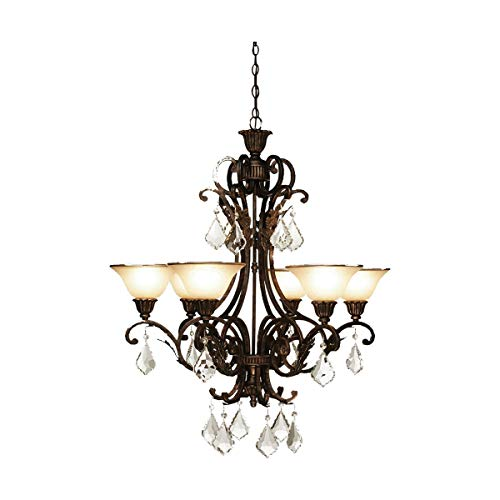 Chandeliers 6 Light Bulb Fixture with Multi Tone Bronze Finish Caramelized Glass with Crystal Jewels Medium 31