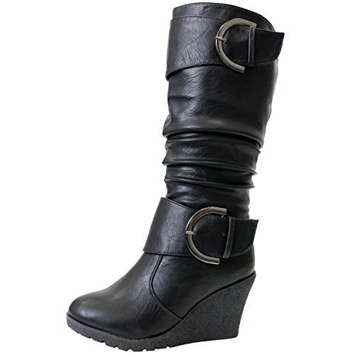 Pure 65 Womens slouch Wedge Boots Black 7