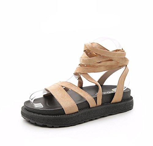 Étudiant DANDANJIE Pantoufles Épaisses À Noir apricot Femmes 34 Bandage Sandales Confortable Chaussures 43 Filles Grande Taille Enveloppé Vert Été Abricot Chaussures Semelles XZXzxwr