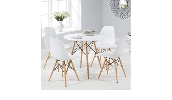 BUDMOSUR Mesa + 4 sillas réplica Eames +4 cómodos Cojines ...