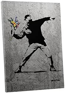 Pingo World 0829QGHITHY Flower Thrower Concrete Version Gallery Wrapped Canvas Art 45″ x 30″ . Bonus Free Banksy Wall Decal