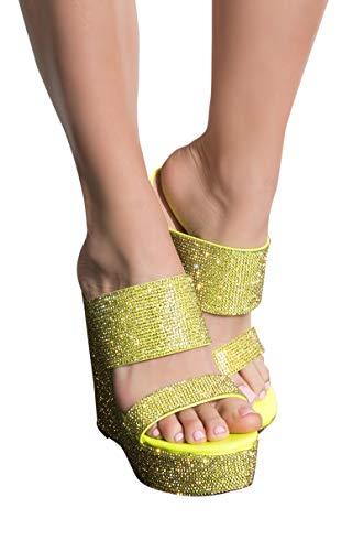 AKIRA Women's Sparkle Glitter Bling 2 Strap Super High Platform Wedge Pleaser Sandals-NEON - Lime Platform Shoes