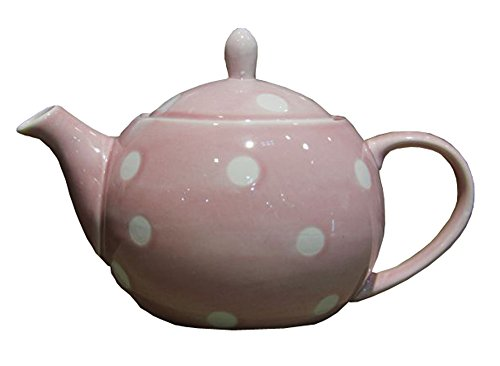 Pink Polka Dot Ceramic Teapot with Infuser 16oz 0.48L