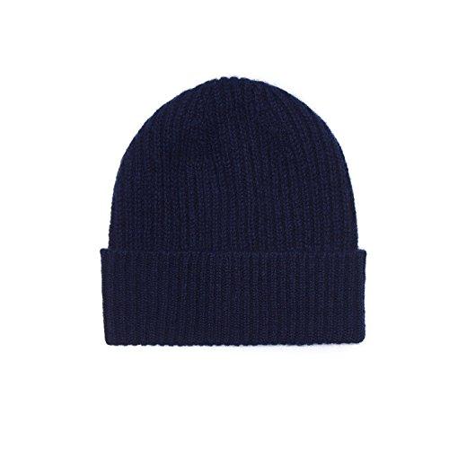 (100% Cashmere Unisex Beanie Hat, Navy)