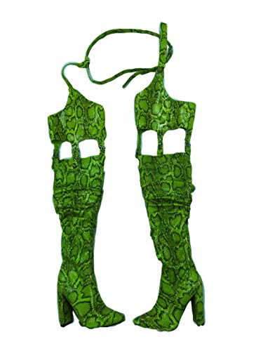 Cape Robbin Sexy Thing Thigh High Over The Knee Boots with Chap, Chunky Block Heel, Fashion Dress Boots for Women - Lime Size 9
