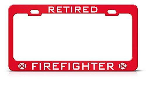 Moon Retired Firefighter RED Heavy Duty License Plate Frame & TAG Border Perfect for Men Women Car garadge Decor