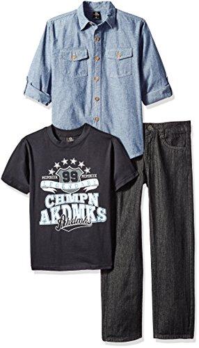 (Akademiks Kids Boys' 3pcs Woven Shirts Pant Sets, Blue/Multi 6)