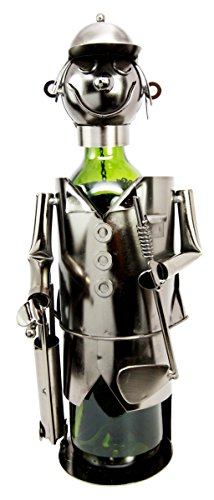 Atlantic Collectibles Professional Golfer With Golf Club and Caddy Bag Hand Made Metal Wine Bottle Holder Caddy Decor Figurine (Handmade Golf)