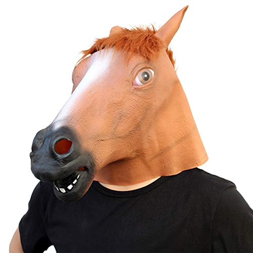 KTYX Halloween Styling Props Ball Party Horse Head Mask Latex Game Funny Party Supplies ()