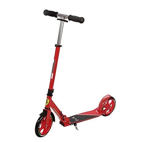 Ferrari Scooter Patinete para niños Dos Ruedas con Varilla autoportante Plegable Escúter aldura ajustable Rojo: Amazon.es: Juguetes y juegos