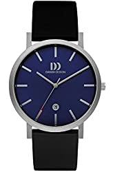 Danish Design Mens Titanium and Black Leather Watch IQ22Q1108