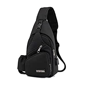 Onesea Small Travel Gym Bike Sling Bag, Laptop iPad Mini Sling Chest Cross Body Backpack, Water Resistant One Shoulder EDC Crossbody Daypack with Water Bottle Pocket USB Charging for Men Women (Black)