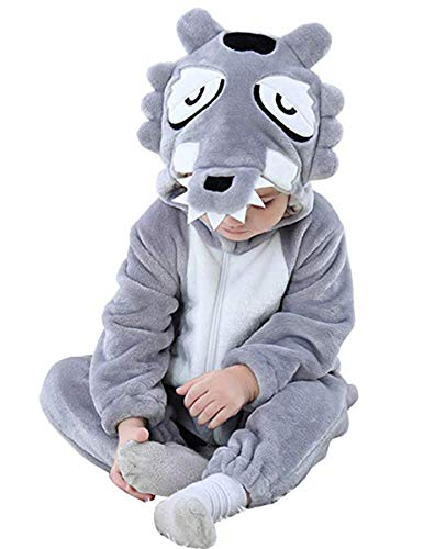 Tonwhar Baby Animal Bodysuit Halloween Costume (70 Ages 3-6 Months, Wolf) -