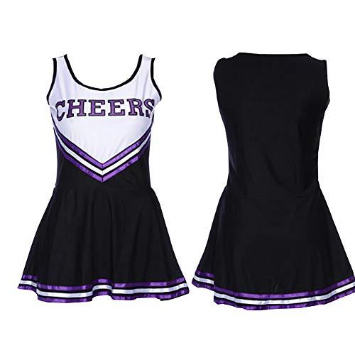 XinYiQu Womens Plus Size Varsity High School Cheer Girl Sexy Cheerleader Dress Costume Musical Uniform Outfit (XXL, Black)