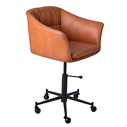 Vintage Home Office Chair Game Chairs-Mid-Backrest and Armrest-Swivel On Wheels-Height Adjustable 18.3-24.2-inch-PU Leather