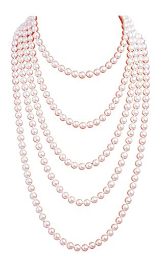 1920s Pearls Necklace Fashion Faux Pearls Gatsby Accessories Vintage Costume Jewelry Cream Long Necklace for Women (Nude-1)]()