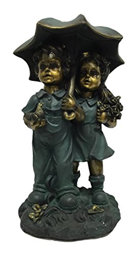 Girl Under Umbrella (Loui Michel Cie Samantha's Garden Boy and Girl Under an Umbrella Statue)