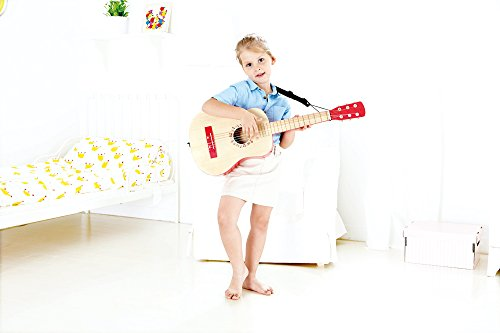 Hape Vibrant Guitar Kid's Toddler Wooden Musical Instrument in Red