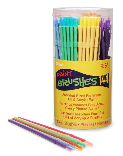 Darice Cannister D880018 Kids Brushes 144-Piece Canister, None by Darice