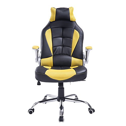 HomCom Racing Style Executive Gaming Office Chair – Black and Yellow