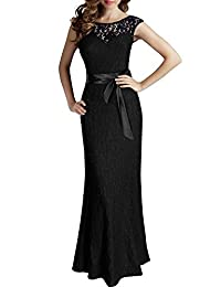 Drasawee Women's Maxi Elegant Floral Lace Halter Backless Evening Bridesmid Dresses