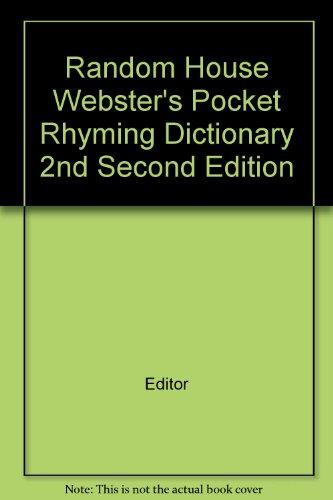 Random House Webster's Pocket Rhyming Dictionary 2nd Second - Pocket Dictionary Websters Rhyming
