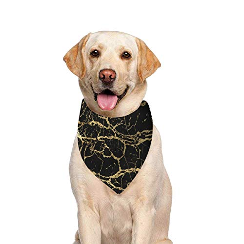 JTMOVING Dog Scarf Gold Marbling Texture Design Poster Brochure Printing Dog Bandana Triangle Kerchief Bibs Accessories for Large Boy Girl Dogs Cats Pets Birthday Party Gift