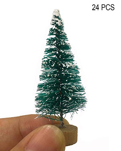 (Fashionme Artificial Mini Sisal Pine Snow Frosted Trees with Wooden Base Bottle Brush Trees Plastic Winter Ornaments for DIY Crafting Displaying Decoration)