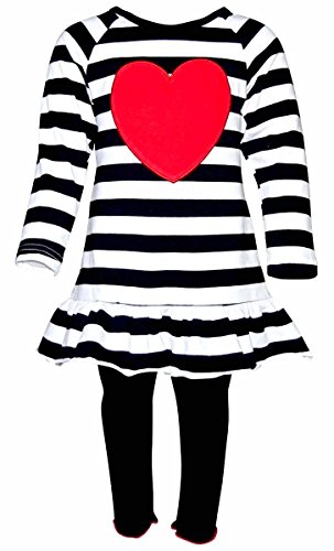 Unique Baby Girls Striped Heart Valentine's Day 2 Piece Outfit (8/XXXL)