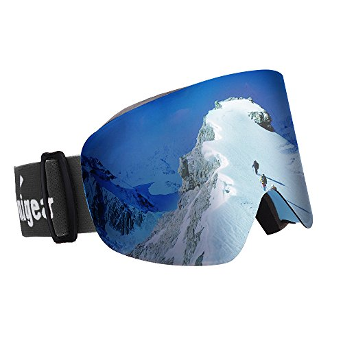 Unigear OTG Ski Goggles, Over Glasses Snowboard Snow Cylindrical Anti-Fog Goggles Men Women Interchangeable Lens 100 UV400 Protection