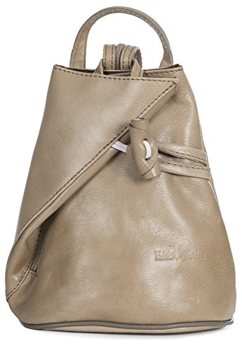 LiaTalia Vera Pelle Made In Italy Brady byLiaTalia Womens Mens Adult Convertible Strap Italian Leather Backpack Rucksack Duffle Shoulder Bag Handbag (Large/Medium - Beige Plain) by LiaTalia Vera Pelle Made In Italy