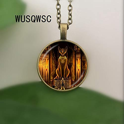 Seed World Chain Necklaces - Ancient Egyptian Cat Goddess Statue Necklace Egypt Lord Pendant Handmade Glass Necklace Women Jewelry Amulet Accessories 1 PCs