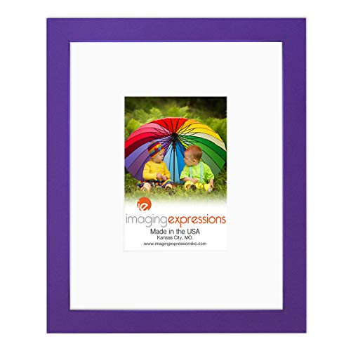 Imaging Expressions - Purple Picture Frame 8x10 - Thick Beveled Mat to Display 4x6 Photos - Wall Hanging or Sturdy Easel for Tabletop Display - Made in The USA (8x10   4x6 Image Opening, Purple) (Purple Pictures)