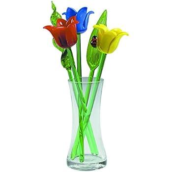 Amazon Com New Hand Blown Glass Tulip Flowers Amp Leaves Set Amp Glass Vase Amp Ladybug On Leaf Home