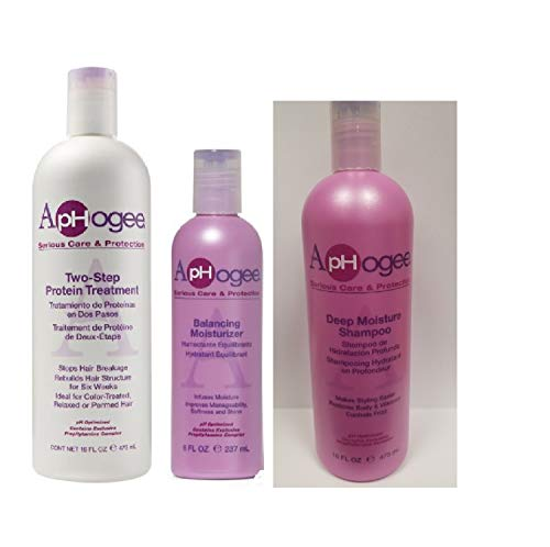 (Aphogee Two-Step Protein Treatment 16oz, Balancing Moisturizer 8oz, Deep Moisture Shampoo Restructurizer 16oz)