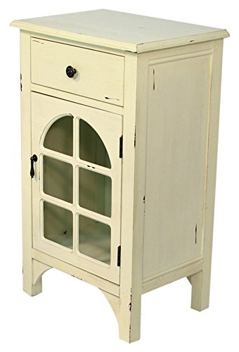 Heather Ann Creations Single Drawer Distressed Cabinet with Cathedral Glass Window Inserts, 30'' x 18'', Antique White