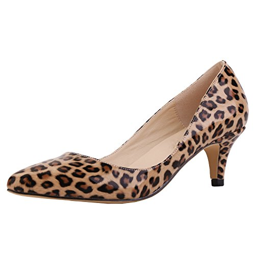 SAMSAY Women's Slender Kitten Heels Pointed Toe Pumps Court Shoes, 40 M EU / 8.5 B(M) US, Leopard