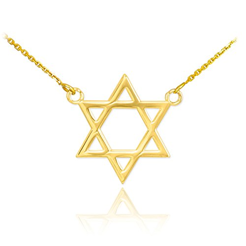 High Polish Solid Gold Jewish Star of David Charm Necklace (yellow-gold, 16 -