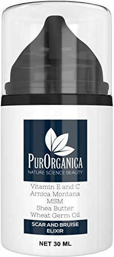 PurOrganica SCAR CREAM - Premium Removal Treatment for Old & New Scars - With Vitamin E and C, MSM, Shea Butter, Arnica Montana and Wheat Germ Oil - Organic and Natural Cream in 30ML bottle
