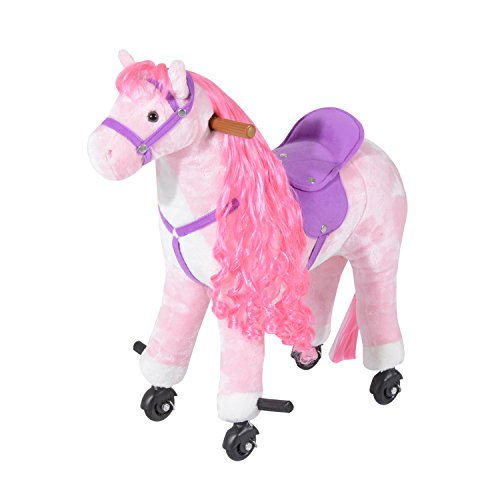 Plush Ride On Walking Horse with Wheels - Pink