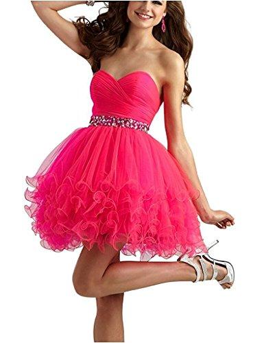 JYDress - Vestido - trapecio - para mujer rosa fucsia 46