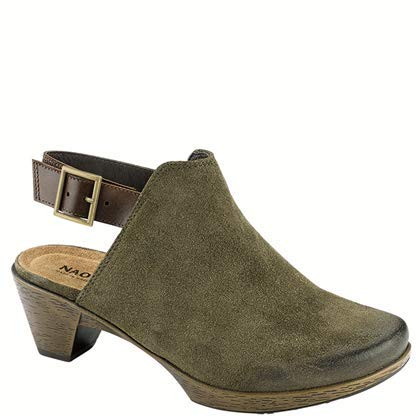 NAOT Footwear's Women's Upgrade Oily Olive Suede/Walnut Lthr Clog 6 M US