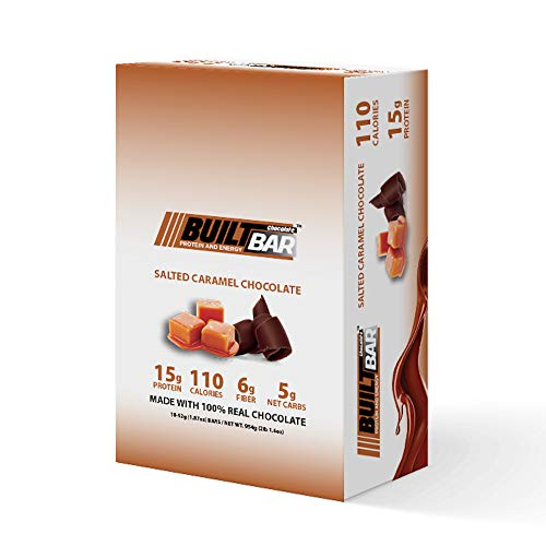 Built Bar 18 Pack Energy and Protein Bars – 100% Real Chocolate – High in Whey Protein and Fiber – Gluten Free, Natural Flavoring, No Preservatives (Salted Caramel)